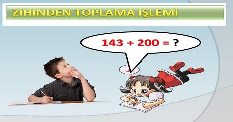 Zihinden toplama sunusu Matematik 3