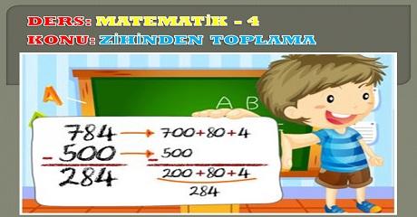 Zihinden toplama Matematik 4