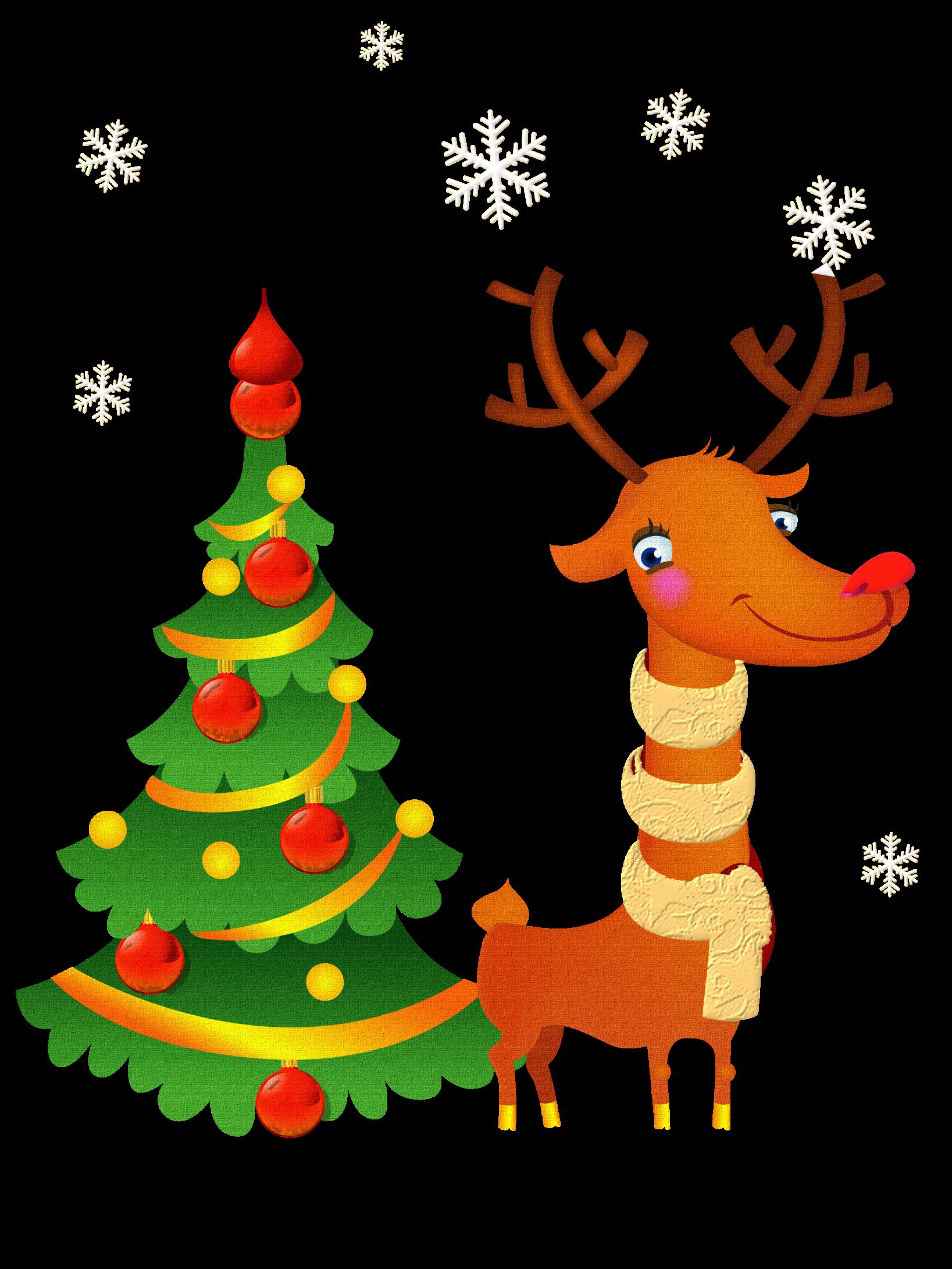 Christmas pine tree ve geyik