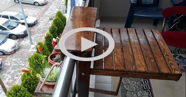 Paletten portatif balkon masası ve çiçeklik yapımı