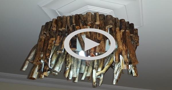Kurumuş eski ağaçtan avize yapımı